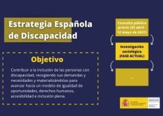 Infografia con objetivo y fases de la Estrategia Espanola de Discapacidad