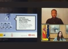 Captura de pantalla de la presentacion de la II edicion del Programa Reina Letizia para la Inclusion, con la ministra Ione Belarra
