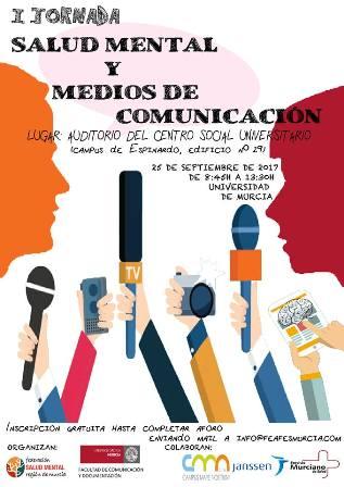 Cartel de la I Jornada Salud Mental y medios de comunicación de Salud Mental Región de Murcia