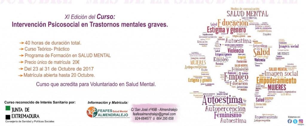 Cartel Curso 'Intervención Psicosocial en Trastornos mentales graves'