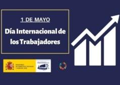 Icono de grafica de barras con flecha hacia arriba, texto del Dia Internacional de los Trabajadores, logotipo del Real Patronato y rueda de los ODS