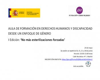 Cartel Aula de Formación en Derechos Humanos y Discapacidad desde un Enfoque de Género