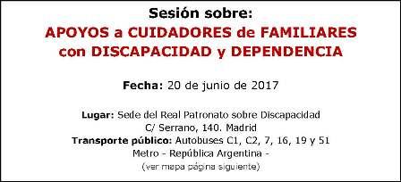 Cartel Sesión SIPOSO sobre apoyos a cuidadores de familiares con discapacidad y dependencia