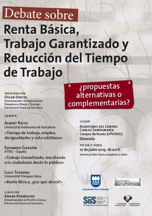 Debate sobre renta básica, trabajo garantizado y reducción del tiempo de trabajo