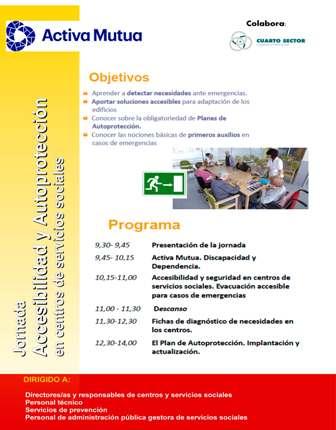 Folleto Jornada Accesibilidad y Autoprotección en centros de servicios sociales