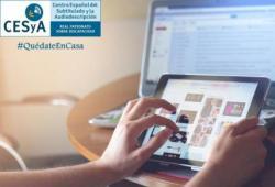 Imagen de unas manos con una tablet y logo del CESyA
