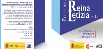 Cartel del Premio Reina Letizia 2015 de Accesibilidad Universal de Municipios