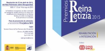 Cartel de los Premios Reina Letizia 2015 de Rehabilitación y de Integración