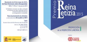 Cartel del Premio Reina Letizia 2015 de Promoción de la Inserción Laboral