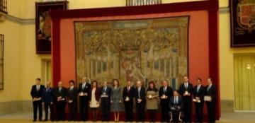 Foto de familia de la entrega de los Premios Reina Letizia 2016 y 2017
