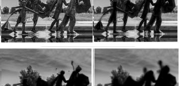 Escultura urbana ?Agua y viento?, en Zaragoza, donde se puede apreciar, de izquierda a derecha, cómo se vería por alguien sin y con distintos grados de diferentes patologías (cataratas y retinosis) de ?Baja Visión?