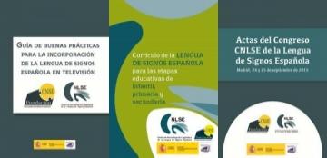 Portadas de las publicaciones del Real Patronato sobre Discapacidad elaboradas por el Centro de Normalización Lingüística de la Lengua de Signos Española