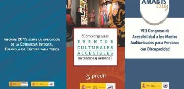 Portadas de las publicaciones del Real Patronato sobre Discapacidad sobre la accesibilidad a la cultura y al ocio