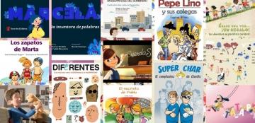 Collage de portadas de cuentos sobre discapacidad
