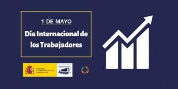 Imagen con encabezado del Día Internacional de los Trabajadores, logotipo del Real Patronato y rueda de los ODS, e imagen del ODS 8