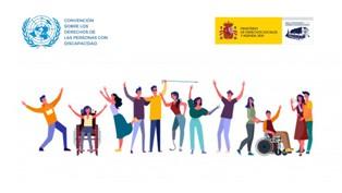 Ilustración de un grupo de personas entre las que se incluyen personas con discapacidad, logo del Real Patronato y logo de Naciones Unidas