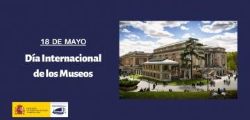 Imagen del edificio del Museo del Prado con el texto del Día Internacional de los Museos y el logotipo del Real Patronato sobre Discapacidad