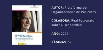 Imagen de portada y datos de la publicación: AUTOR: Plataforma de Organizaciones de Pacientes  COLABORA: Real Patronato sobre Discapacidad  AÑO: 2021  PÁGINAS: 59