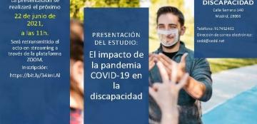 Cartel de la presentación del estudio, con foto de fondo de un chico con mascarilla transparente hablando en lengua de signos con una chica de espaldas y texto con título y datos de la presentación
