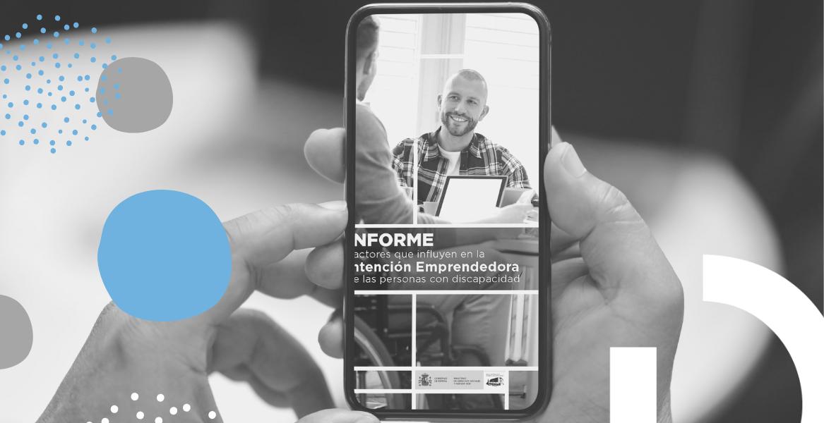 Portada del estudio sobre fondo azul con transparencias de portadas otras publicaciones del programa editorial 2020 del Real Patronato sobre Discapacidad