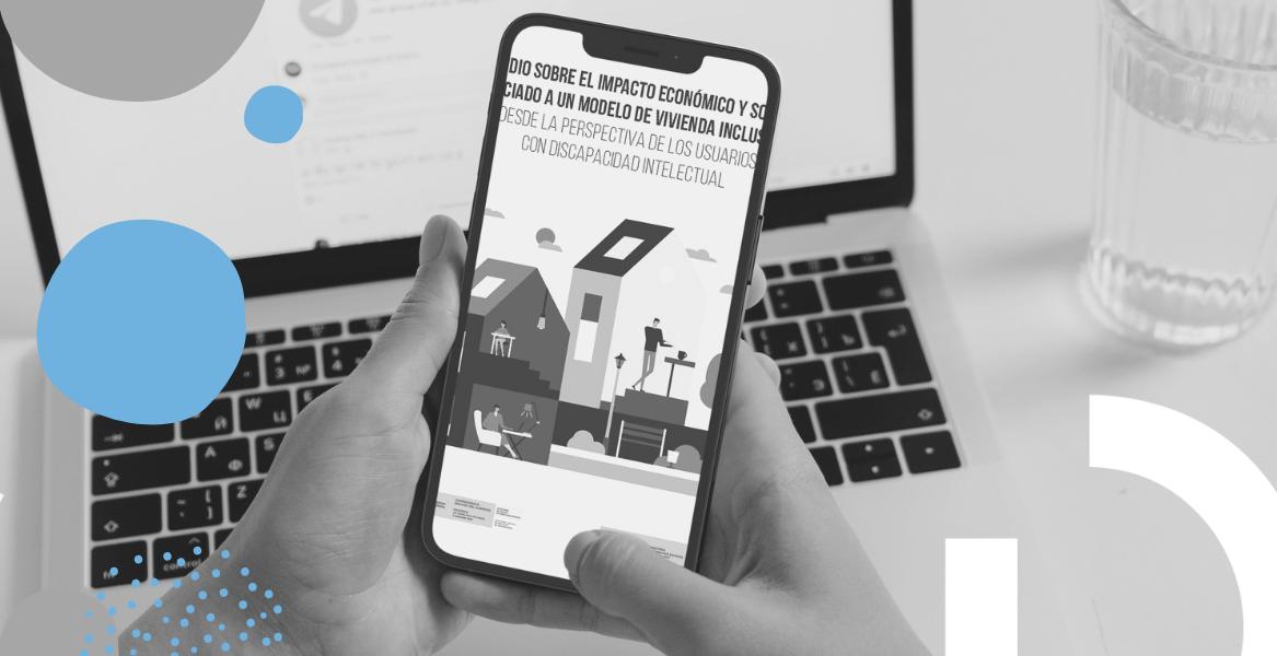 Portada Estudio con logotipos de la DG de Derechos de las Personas con Discapacidad y el Real Patronato sobre Discapacidad e ilustración de una casa con personas dentro